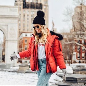 River Island Double Layer Red Puffer Jacket